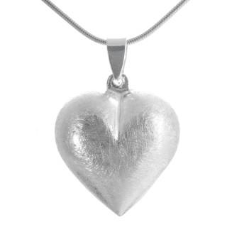 Herz - Silber Anhänger plain - gebürstet