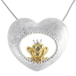 Frosch im Herz - Silber Anhänger plain - gebürstet/poliert