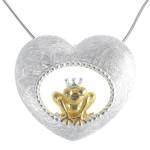 Frosch im Herz - Silber Anhänger plain -...
