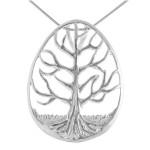 Lebensbaum - Silber Anhänger plain - mattiert/poliert