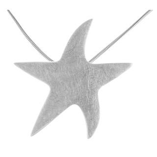 Stern - Silber Anhänger plain - gebürstet