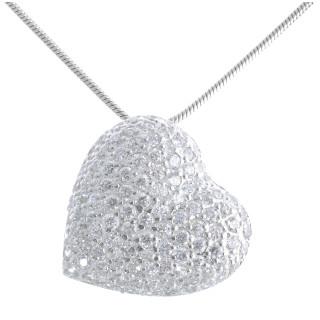 Herz - Silber Anhänger Zirkonia - rhodiniert