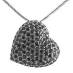 Herz - Silber Anhänger Zirkonia - rhodiniert - schwarz