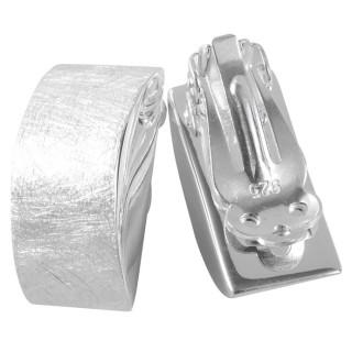 Acanthus - Silber Ohrclips - gebürstet
