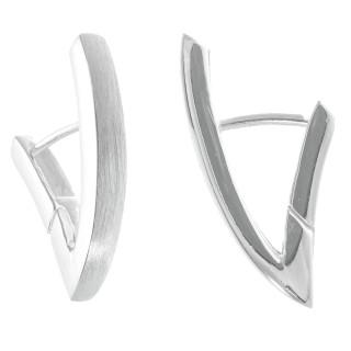 Lewisia - Silber Creolen - mattiert/poliert