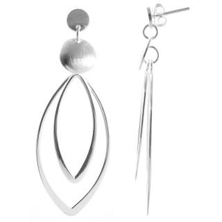 Brachy - Silber Ohrringe plain - mattiert/poliert