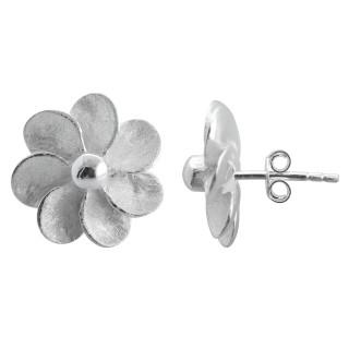 Acantho - Silber Ohrringe plain - gebürstet/poliert
