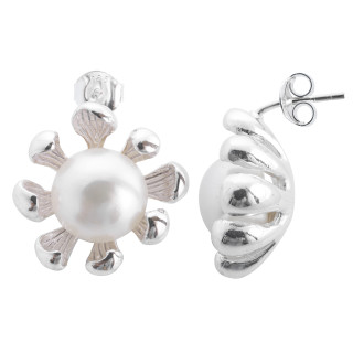Nemesia - Silber Perlenohrringe - poliert