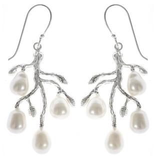 Scaevo - Silber Perlenohrringe - poliert