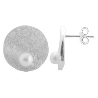 Sedum - Silber Perlenohrringe - gebürstet