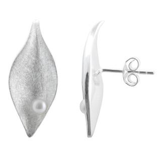 Ficus - Silber Perlenohrringe - gebürstet/poliert