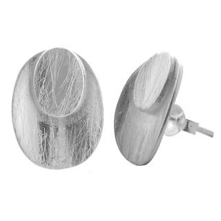 Cleome - Silber Ohrstecker plain - gebürstet