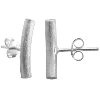 Chrysan - Silber Ohrstecker plain - gebürstet