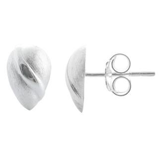 Crassula - Silber Ohrstecker plain - gebürstet/poliert