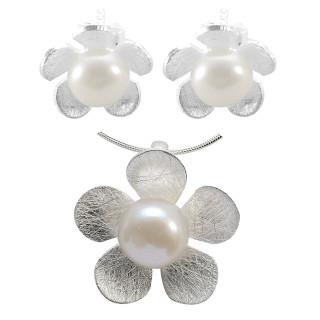 Centaurea - Silber Set Perle - gebürstet