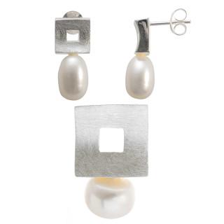 Cirsium - Silber Set Perle - gebürstet/poliert