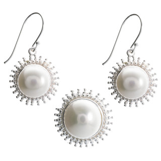 Clivia - Silber Set Perle - poliert