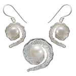 Ajuga - Silber Set Perle - poliert