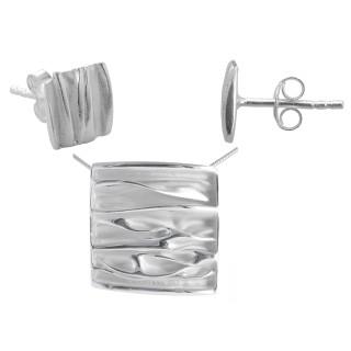 Papaver - Silber Set plain - mattiert/poliert