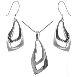 Diana - Silber Set plain - mattiert/poliert