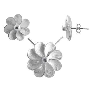 Halmum - Silber Set plain - gebürstet/poliert