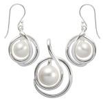 Crambe - Silber Set Perle - poliert
