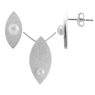 Tanacetum - Silber Set Perle - gebürstet/poliert