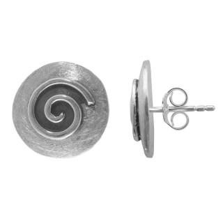 Asyneum - Ohrstecker - oxidiert - Silber Ohrstecker plain - oxidiert