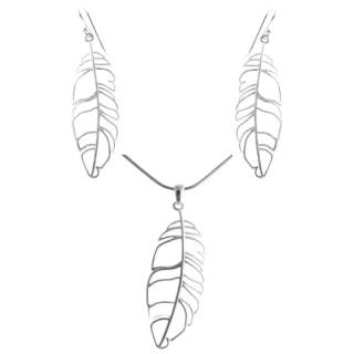 Blatt - Silber Set plain - gebürstet/poliert