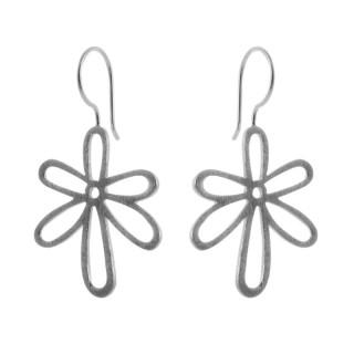 Silber Ohrringe - Blume schlicht - gebürstet