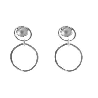 Silber Ohrringe - hängende Ringe - mattiert und poliert