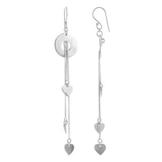 Silber Ohrringe - Lange Kette mit Herz - poliert und rhodiniert