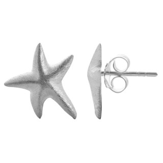 Silber Ohrstecker - Stern füllig - gebürstet