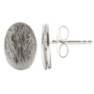 Silber Ohrstecker - Oval - gebürstet