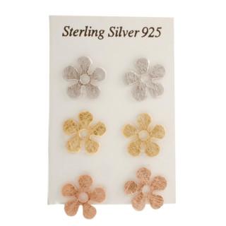 Silber Ohrstecker - Blume mehrfarbig - gebürstet