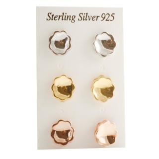 Silber Ohrstecker - Welle - poliert