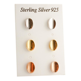 Silber Ohrstecker - Oval - poliert