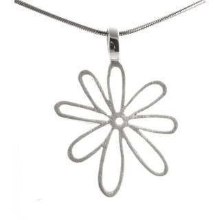 Silber Anhänger - Blume schlicht - gebürstet