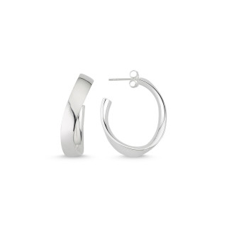 Oval  30 mm - Silber Creolen - poliert