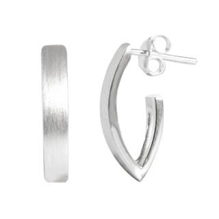 Creole Halb-V-Form  - Silber Ohrringe plain - mattiert