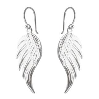 Flügel - Silber Ohrringe plain - poliert