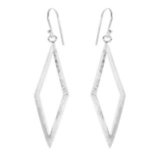 Viereck lang - Silber Ohrringe plain - gebürstet