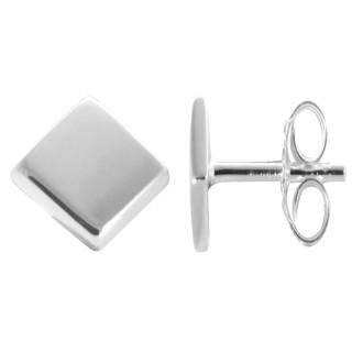 Viereck - Silber Ohrstecker plain - poliert
