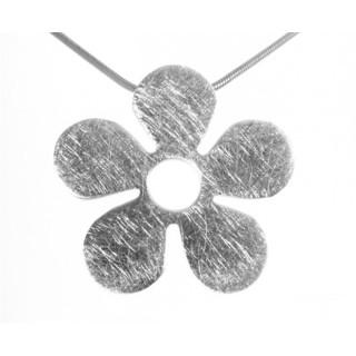 Blume schlicht - Silber Anhänger plain - gebürstet