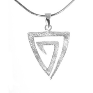 Dreieck - Silber Anhänger plain - gebürstet