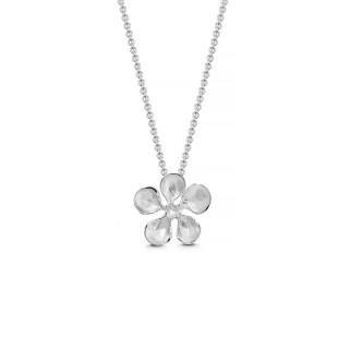 Blume nach innen gewölbt - Silber Anhänger plain - mattiert/poliert