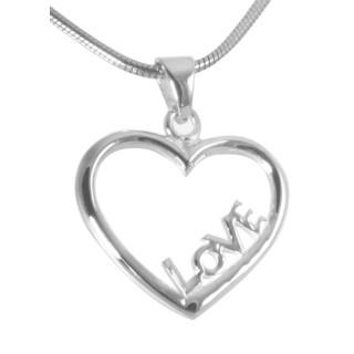"""Herz mit """"LOVE"""" Schriftzug - Silber Anhänger plain - poliert"""