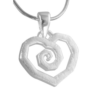 Herz eckig - Silber Anhänger plain - gebürstet