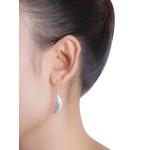 Flügel - Silber Ohrringe plain - gebürstet