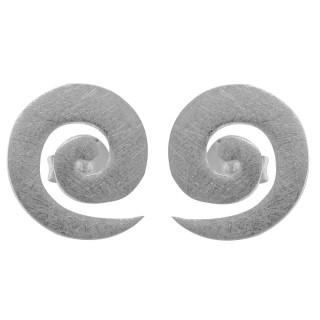 Spirale - Silber Ohrstecker plain - gebürstet
